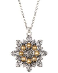 Lucky Brand - Silver Floral Pendant Necklace - Lyst