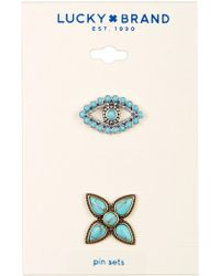 Lucky Brand - Turquoise Evil Eye & Flower Pin Set - Lyst