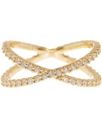 Lucky Brand - Gold Plated Sterling Silver Pave Crisscross Ring - Size 7 - Lyst