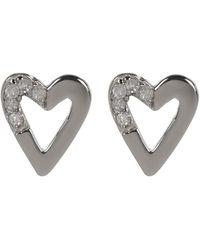 Kenneth Cole - Sterling Silver Diamond Detail Open Heart Stud Earrings - 0.06 Ctw - Lyst