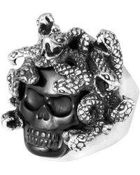 King Baby Studio - Sterling Silver Carved Jet Medusa Skull Ring - Lyst