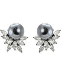 CZ by Kenneth Jay Lane - Cz Cluster Faux Pearl Earrings - Lyst