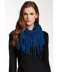 Blue Pacific - Cashmere Blend Knit Fringe Infinity Scarf - Lyst