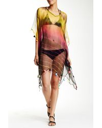 Raj - Tie Dye Short Silk Tassel Caftan - Lyst