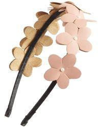 Cara - Faux Leather Flower Headband - Lyst