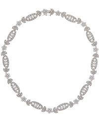 CZ by Kenneth Jay Lane - Vintage Inspired Flower & Leaf Cz Necklace - Lyst