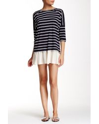 Peach Love California - Striped Flare Hem Tunic Dress - Lyst