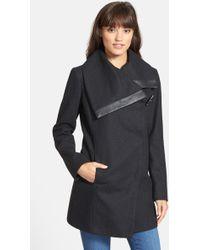 Sam Edelman - Fallon Faux Leather Trim Asymmetrical Wool Blend Coat - Lyst