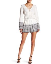 Liv - Embroidered Long Sleeve Romper - Lyst