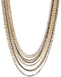 Lauren by Ralph Lauren - Tri-tone Chain Drape Necklace - Lyst