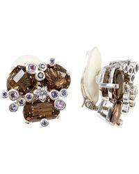 Stephen Dweck - Sterling Silver Smoky Quartz, Amethyst, & Iolite Clip-on Earrings - Lyst