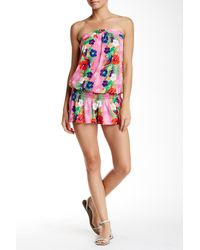 Macbeth Collection - Floral Print Strapless Romper - Lyst