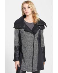 Blanc and Noir - Asymmetrical Zip Mixed Media Coat - Lyst