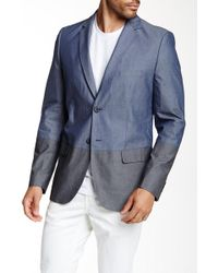 Civil Society - Marley Two Button Chambray Colorblock Woven Blazer - Lyst
