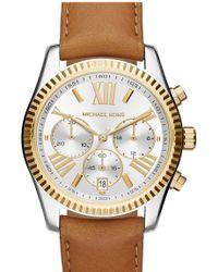 MICHAEL Michael Kors - Women's Lexington Leather Strap Watch - Lyst