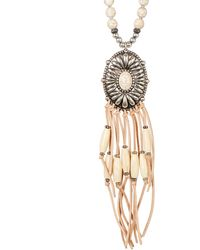 Sparkling Sage - Mixed Bead And Faux Suede Fringe Oval Pendant Necklace - Lyst