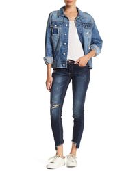 C&C California Haiden Low Rise Uneven Ankle Skinny Jean - Blue