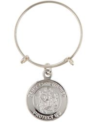 ALEX AND ANI - Argentium Sterling Silver Saint Christopher Mini Charm Expandable Ring - Lyst
