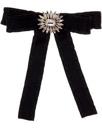 Cara - Black Ruffle Bow Pin With Floral Embellishment - Lyst