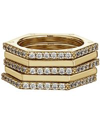 Nicole Miller - Cz Hexagon Stack Ring Set - Set Of 5 - Lyst