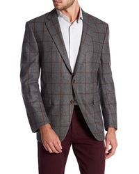 Peter Millar - Grey Windowpane Notch Collar Two Button Classic Fit Wool Sports Coat - Lyst
