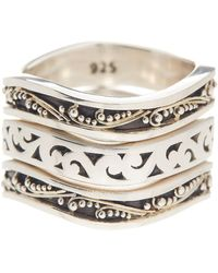 Lois Hill | Sterling Silver Triple Wave Stack Ring - Size 7 - Set Of 3 | Lyst