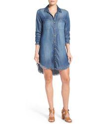 Side Stitch - Frayed Hem Denim Shirtdress - Lyst
