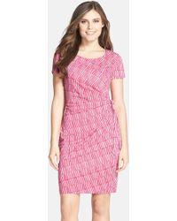 NYDJ - Veronica Print Side Tie Sheath Dress - Lyst
