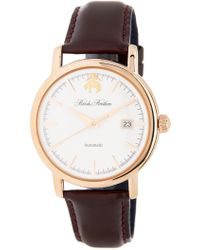 Brooks Brothers - Men's Core Collection Round Analog Leather Strap Watch - Lyst