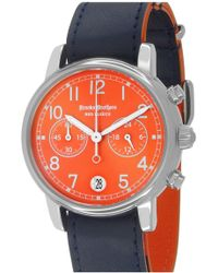 Brooks Brothers - Men's Red Fleece Chronograph Leather Strap Watch - Lyst