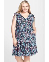 Sejour - Tie Shoulder Fit & Flare Dress (plus Size) - Lyst