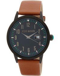 Steve Madden - Women's Brown Leather Strap Analog Watch - Lyst
