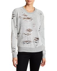 Sweet Romeo - Distressed Looped Knit Sweatshirt - Lyst