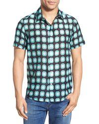 Oxford Lads - 'aqua Circles' Trim Fit Short Sleeve Print Woven Shirt - Lyst