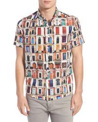 Oxford Lads - Trim Fit Doors Print Short Sleeve Woven Silk Blend Shirt - Lyst