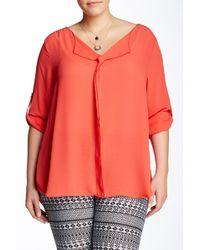 Sienna Rose | Long Sleeve Split Neck Blouse (plus Size) | Lyst