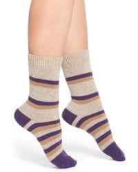 Pantherella - 'selma' Stripe Wool Blend Crew Socks - Lyst