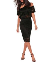 Missguided - Lace Pencil Skirt - Lyst