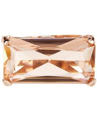 Savvy Cie Jewels - 18k Rose Gold Vermeil Emerald Cut Morganite & White Cz Ring - Lyst