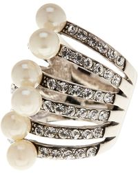 Ariella Collection - Simulated Pearl And Crystal Ring - Size 7 - Lyst