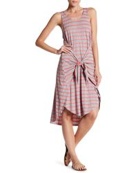 Soprano - Tie Front Striped Sleeveless Dress - Lyst