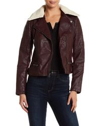 Lucky Brand | Asymmetrical Quilted Faux Fur Trim & Faux Leather Jacket | Lyst
