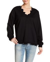 Lush - Distressed V-neck Sweater - Lyst