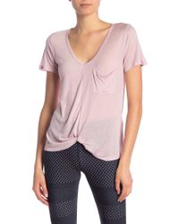 Avec Les Filles - Knotted Front Knit Tee - Lyst