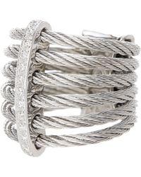 Alor - 18k White Gold Diamond Detail Multi Strand Ring - 0.11 Ctw - Lyst