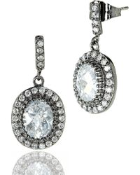 Freida Rothman - 14k Yellow Gold & Black Rhodium Plated Sterling Silver Pave & Prong Set Cz Drop Earrings - Lyst