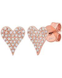 Ron Hami - 14k Rose Gold Diamond Heart Stud Earrings - 0.14 Ctw - Lyst