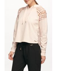 Donna Karan - Lace Back Pullover Hoodie - Lyst
