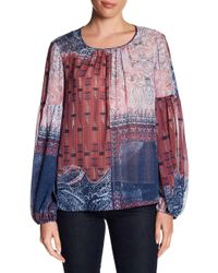 BCBGMAXAZRIA - Sheer Bishop Sleeve Silk Blouse - Lyst