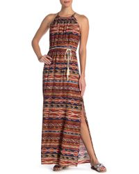 Karen Kane - Patterned Halter Maxi Dress - Lyst